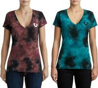 True Religion Women's Tie Dye Buddha Logo V-Neck Tee T-Shirt