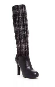 New Geox Cleopatra Knee High Boot Leather Fabric Tartan Women  Black 40 US 10