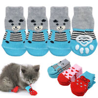 4Pcs Pet Dog Cat Non-slip Socks Puppy Knit Warm Bottom Shoes Slippers XXS XS S M