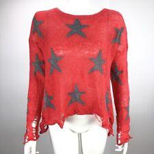 Wildfox Seeing Stars Women's XS Distressed Lennon Sweater Orange
