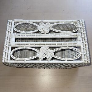 Vintage Wicker Tissue Box Cover Rectangle Holder Mid Century 60's