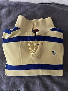 Abercrombie & Fitch Men's  Large Muscle fit cotton jumper Yellow & Blue stripes