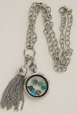 Large Living Floating Locket Round 6 Charms Dangle + Origami Owl Charm Crystals