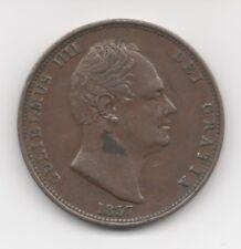 1837 ENGLISH WILLIAM IIII HALFPENNY - XF