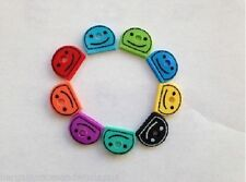 10 X SMILEY KEY CAP CAPS TOP COVERS TAGS ID MARKERS MARKER KEYRING MIXED COLOURS