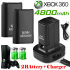2 Battery Pack & Charger Dock For Microsoft Xbox 360 Wireless Controller Black