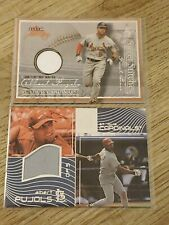 2 2004 Albert Pujols jersey relic UD Reflections and Fleer Sweet Sigs Stitches