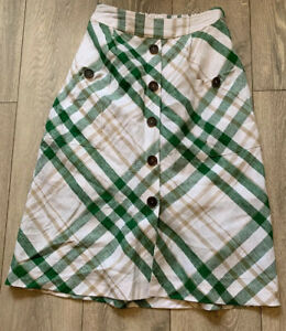 Retro 1980s Durndall Skirt White Green  Patch Pocket Buttoned Linen M&S Size 6