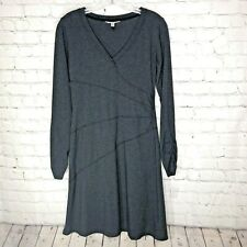 Athleta Organic Cotton Dark Gray T-Shirt Dress Long Sleeve Size Small  0006