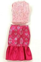 Barbie  Clothes 2 Piece Fashion Outfit Pink Ruffle Bottom Skirt Pink Glitter Top