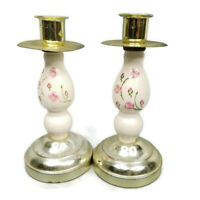 "Homco Home Interiors Two Candlesticks Candle Holders Pink Floral 7.5"" Tall Metal"