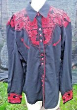 SCULLY Men's Embroidered Floral Western Shirt Black XXL/2XL