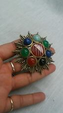 Vtg. Scottish faux banded agate glass modernist spike  pin brooch /pendant