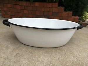 "Vintage Enamel Ware Tub Basin Handles Oval Wash Bowl 17"" White Black Baby Bath"