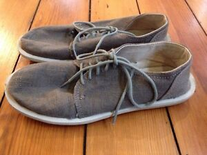 Sanuk Brown Fabric Mens Oxford Lace Up Chukka Boot Style Soft Linen Shoes 9 42