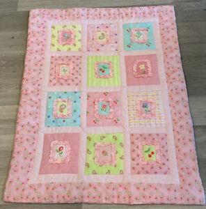 Crib Quilt, Printed Design, Floral Prints, Checks, Pink, Green, White, Yellow
