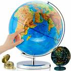"""GET LIFE BASICS World Globe with Stand - 13"""" Globes for Kids with Light Up"""