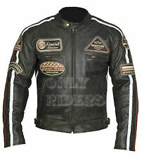 Chaqueta En Piel Para Moto,Leather Jacket, Vintage, Marron, Biker, Talla 2XL