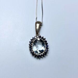 1.85cts Natural light blue Aquamarine 925 Sterling Silver / 14k 18k Gold pendant