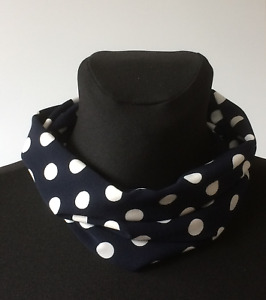 handmade stretch multipurpose snood, neck warmer, Navy and white polka dot
