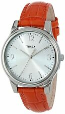 NEW-TIMEX SILVER TONE,WHITE DIAL,ORANGE CROC LEATHER BAND WATCH T2P087TN
