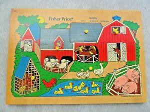 Vintage Fisher Price Barn Pick Up Peg & Peek Wood 10 Pc Puzzle 2711 1980x