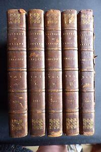 THE HISTORY OF ENGLAND TOBIAS SMOLLETT 5 VOLS PUB 1805 LEATHER GOOD CONDITION