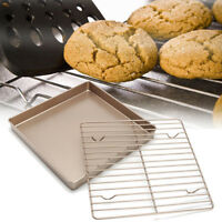 11'' Toaster Oven Nonstick Baking Set Cake Pan & Cooling Rack Drying Stand  C