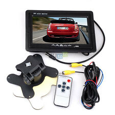 "Wireless Remote 7"" TFT LCD Monitor For Car Parking Rear View Backup Camera GPS"