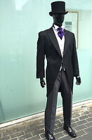 BLACK TAILCOAT MORNING SUIT FOR WEDDINGS & ROYAL ASCOT 100% WOOL LIGHT WEIGHT