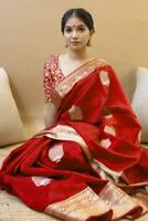 Saree Sari Blouse Designer Red Silk Sari Traditional Kanchipuram Indian Wear KP