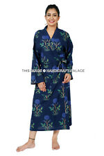 Womens Cotton Blue Flower Lounge Bathrobe Nightwear Lovers Kimono Long Bath Robe