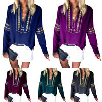 Women Boho Floral T Shirt Blouse V-Neck Long Sleeve Casual Gypsy Long Sleeve Top