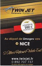 CARTE PUBLICITAIRE - TWIN JET FLYINGBLUE - DESTINATION NICE (FRANCE)