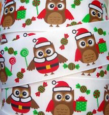 1.5 CHRISTMAS CANDY HOOTS LOLLIPOPS & PRESENTS GROSGRAIN RIBBON OWL 4 HAIRBOW