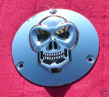 Couvercle embrayage chromé 3D SKULL pour HARLEY-DAVIDSON BigTwin 1970-1999