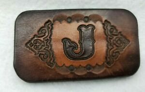 """Letter """"J"""" Double Leather and Brass Belt Buckle, brown color, Tooled Design"""