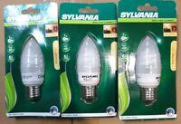 3 x Sylvania Mini Lynx Compact Bulb 7W (40W) E27 Frosted Edison Screw Fit
