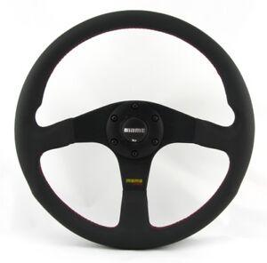 Momo Leather Sports Steering Wheel tuner 35 13 25/32in Black Volante