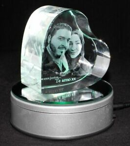 Personalised Lasered 3D Heart Photo Crystal 90x90x50mm
