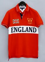 Men Tommy Hilfiger ENGLAND UK Polo Shirt Red Cotton Short Sleeves S VCA103