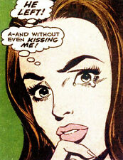 He Left Without Kissing Me Pop Art 8x10 Retro Fabric Block - Buy 2, Get 1 FREE!