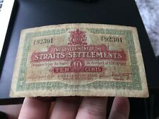 1919 Straits Settlements 10cents  Banknote in collectable grade