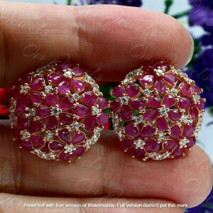 Beautiful 4Ct Pear Cut Red Ruby & Diamond Cluster Earrings 14K Rose Gold Finish