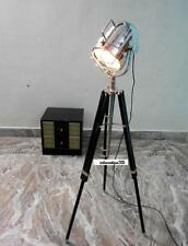 Hollywood Antique Marine Nautical Spotlight Decorative Floor Lamp Wooden Tripod