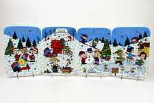 """Danbury Mint Christmas With Charlie Brown 8.5"""" Panoramic Plate Set 4Pc Le"""