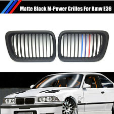 Matte Black+M Color Front Kidey Grille Grill For BMW E36 3 Series 323i M3 97-99
