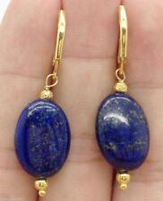 Beautiful 13x18mm Blue Lapis Lazuli Gold Earrings Leverbacks