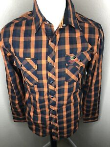 Mossy Oak Striped Orange Blue Shirt Mens Size Small New With Tags