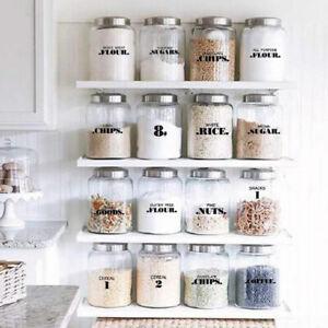 Pantry Labels 6 Sheets Transparent Waterproof Pantry Stickers Food Jar Label_RZ